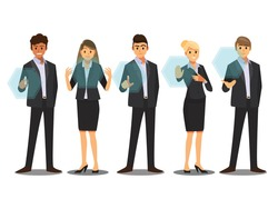 Business People working with digital vurtual screen ,Vector illustration cartoon character.