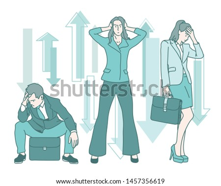 Business people worrying with arrows going up and down. hand drawn style vector design illustrations.