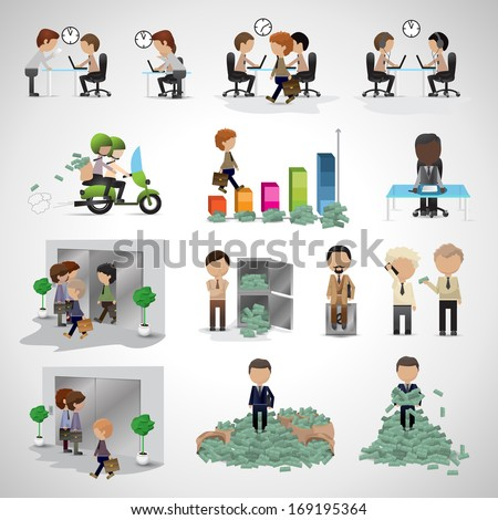 Business Peoples - Isolated On Gray Background - Vector Illustration, Graphic Design Editable For Your Design. Team Working In Office, Earning Money And Walking To Work. Business Concept