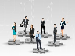 Business peoples standing on puzzles, corporate background.