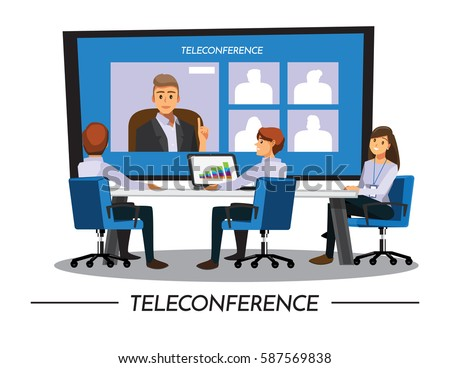 Business PeopleTeleconference and  Meeting,Vector illustration cartoon character