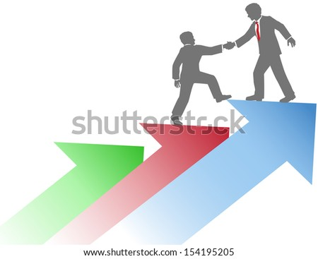 Business person helping co-worker step up on arrows to success