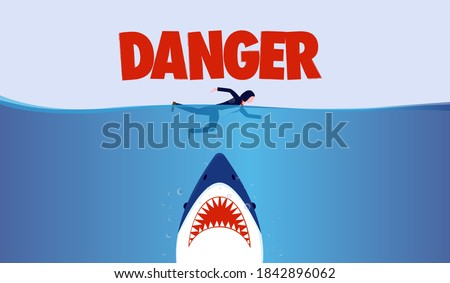 Business person in danger - Businesswoman swimming in ocean with big shark threat underneath. Risking life, risky business and challenge concept. Vector illustration. Сток-фото ©