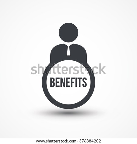 Business person with text BENEFITS flat icon
