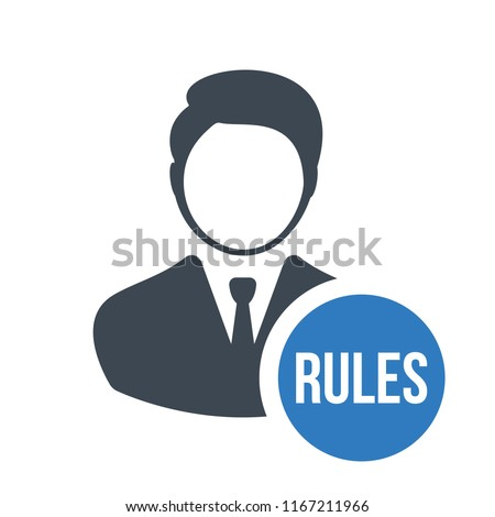Business person with text rules flat icon. Rules and regulations. Terms and conditions icon