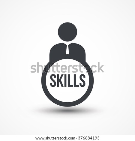 Business person with text SKILLS flat icon. Eps10, JPEG, Picture, Image, Logo, Sign, Design, Flat, App, UI, Web, Art, Symbol