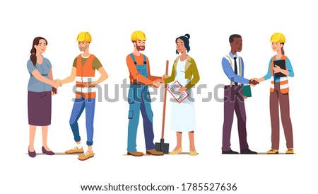 Business person woman shaking hand closing deal with contractor worker or foreman wearing hard hat. Commercial construction building agreement. Contract handshake with builder man. Flat vector illustr Photo stock ©