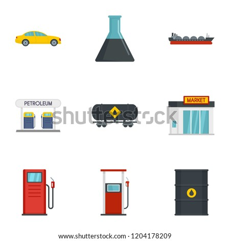 Business petrol icon set. Flat set of 9 business petrol vector icons for web design