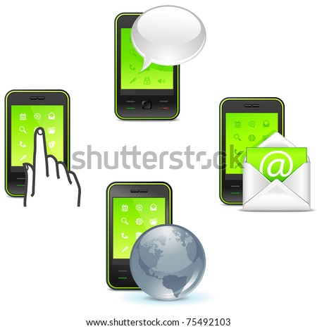 business phone icons - to call, text, send letter and internet
