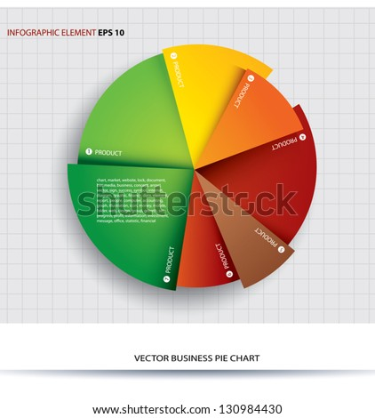 Business pie chart  Paper Info graphics. For documents and reports.