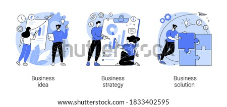 Business plan abstract concept vector illustration set. Business idea, strategy and solution, company achievement, problem solving, decision making, effective performance, roadmap abstract metaphor.
