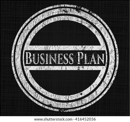 Business Plan chalkboard emblem on black board