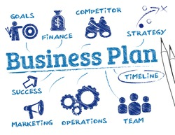business plan. Chart with keywords and icons