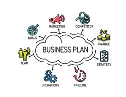 Business Plan. Chart with keywords and icons. Sketch