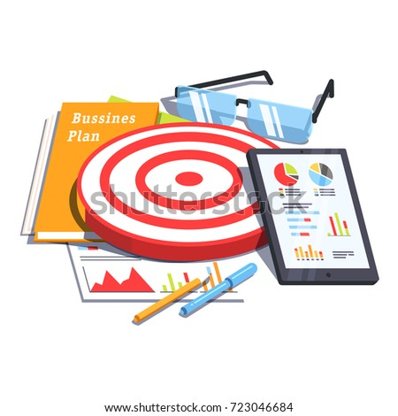 Business plan document next to analytics report, tablet computer, dartboard and glasses. Goals achievement & goal setting concept. Flat vector illustration isolated on white background.