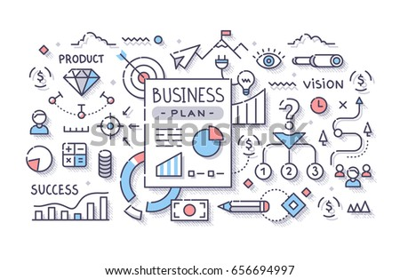 Business plan document with charts and graph. Concept of planning strategy, finance and goals for startup. Modern line art illustration