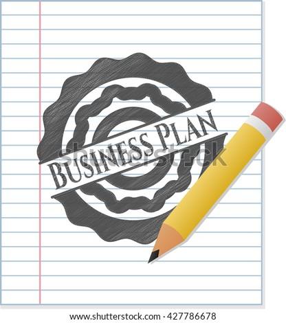 Business Plan emblem drawn in pencil