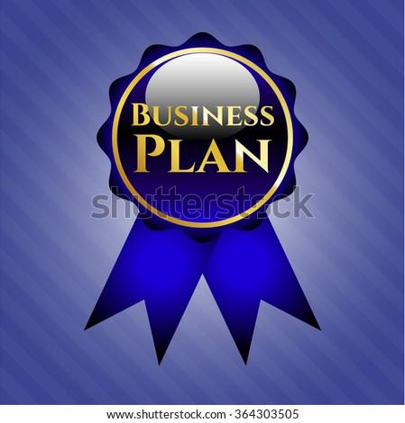 Business Plan golden emblem or badge