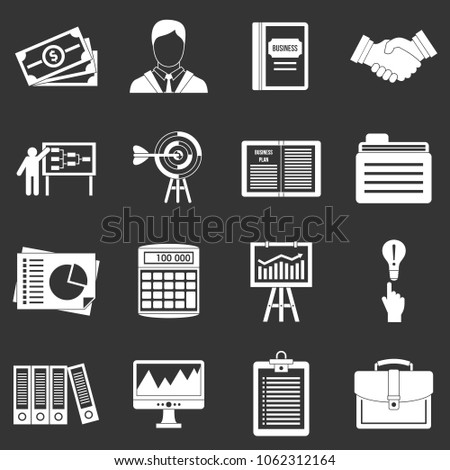 Business plan icons set vector white isolated on grey background