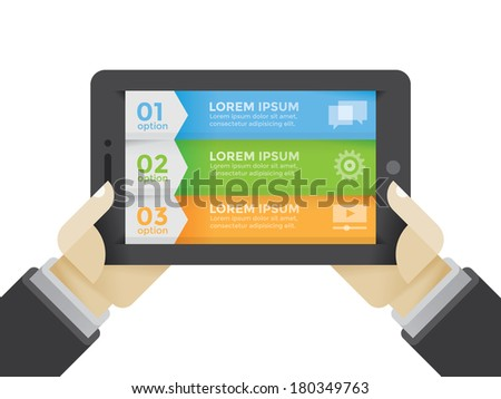Business plan stages infographic on tablet computer in businessman hands