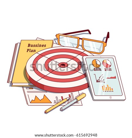Business planning document next to analytics report, tablet computer, dartboard & stationery. Goals achievement concept. Modern flat style thin line vector illustration isolated on white background.