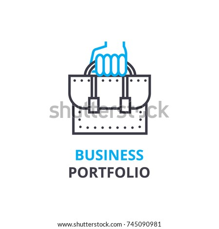 Business portfolio concept , outline icon, linear sign, thin line pictogram, logo, flat vector, illustration