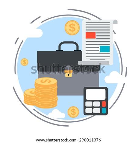 Business portfolio flat design style vector concept illustration