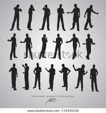 business poses silhouettes - vector illustration