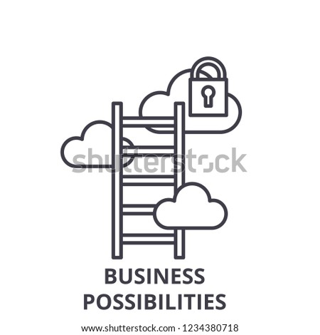 Business possibilities line icon concept. Business possibilities vector linear illustration, symbol, sign