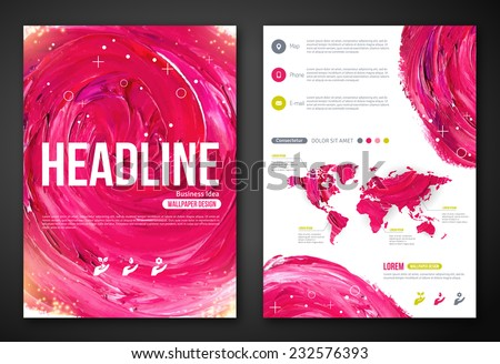 Business Poster or Flyer Template with paint abstract pink background. Vector illustration. Typographic template for your text. Woman beauty, health & spa, fashion theme.