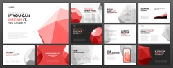 Business powerpoint presentation templates set. Use for keynote presentation, brochure design, website slider, corporate profile, annual report, landing page, social media banner.