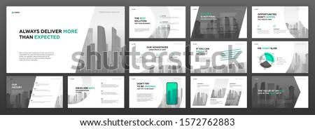 Business powerpoint presentation templates set. Use for keynote presentation, brochure design, website slider, corporate profile, annual report, landing page, social media banner.