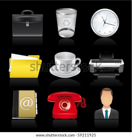 business premium icons on black