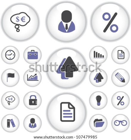 business presentation buttons, icons set, vector