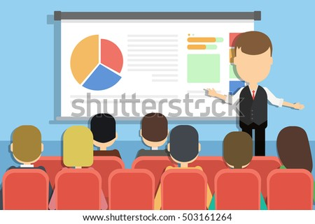 Business presentation concept. Man presenting new project with charts and infographics infront of the audience.