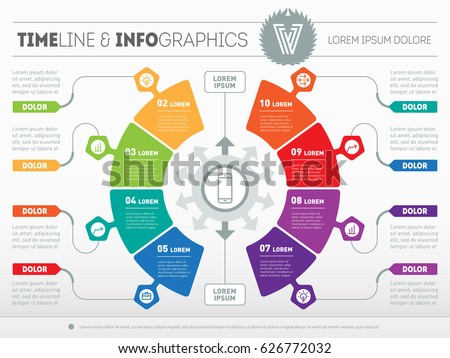 Business presentation concept with eight options. Part of the report with logo and icons set. Vector infographic of technology or education process. Web Template of a circle info chart or diagram