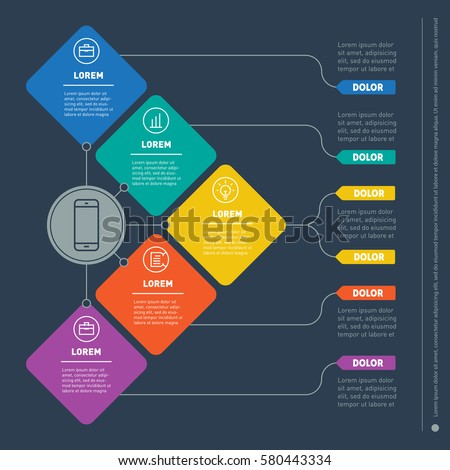 Business presentation concept with five options. Vector infographic of technology or education process. Part of the report with icons set. Web Template of a info chart or diagram.