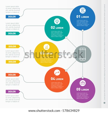 Business presentation concept with five options. Web Template of a info chart, diagram. Vector infographic of technology or education process. Part of the report with icons set.