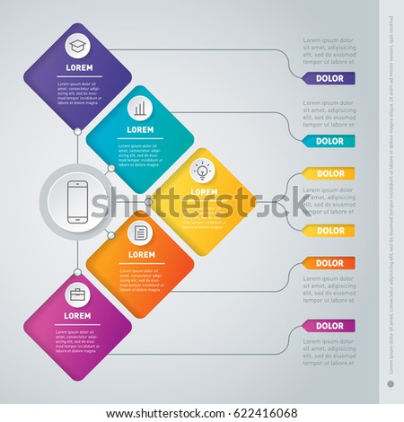 Business presentation concept with 5 options. Infographic or timeline of technology or education process. Web Template of a info chart or diagram. Part of the report with icons set