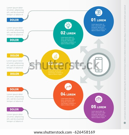 Business presentation concept with 5 options. Vector info graphic of technology or education process. Web Design Template for infographics, chart or diagram. Part of the report with icons.