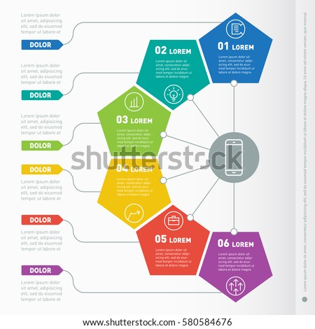 Business presentation concept with 6 options. Vector infographic of technology or education process. Part of the report with icons set. Web Template of a info chart or diagram.