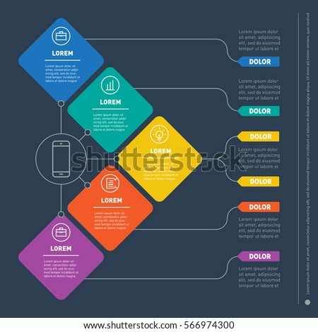 Business presentation concept with 5 options. Web Template of a info chart or diagram. Part of the report with icons set. Vector infographic of technology or education process.