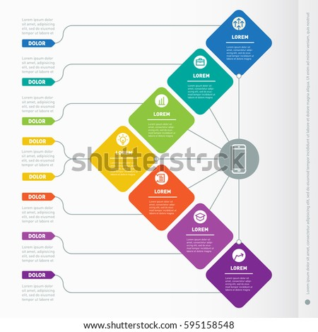Business presentation concept with seven options. Web Template of a info chart or diagram. Vector infographic of technology or education process. Part of the report with icons set.