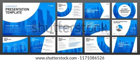Business presentation design templates set. Use for presentation background, brochure design, website slider, corporate report.