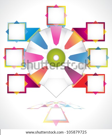Business presentation diagram. Seven fields for information. Multicolored.