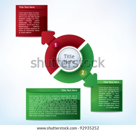 Business Presentation Diagram with two different colored fields for text and statistics