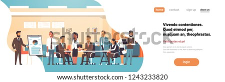 Business presentation flip chart concept team brainstorming group people professionals meeting discussing report modern office flat horizontal copy space