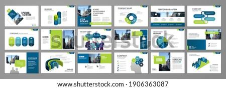 Business presentation infographic  template set. Keynote presentation background, slide templates design,  brochure cover design, landing page, annual report brochure. Vector Illustration
