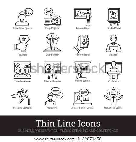 Business presentation, leadership & motivational speech thin line icons. Modern linear illustration concept for web and mobile app. Training seminar, conference speaker person vector icons collection.
