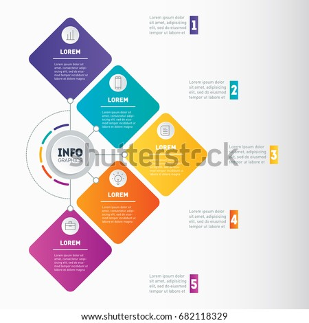 Business presentation or infographic with 5 options. Vector dynamic infographics of technology process. Part of the report with 5 steps. Web Template of a chart, infographic, mind map or diagram.